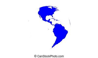 (loop), globe, blanc, tourner