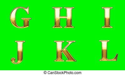 loop golden alphabet. chromakey
