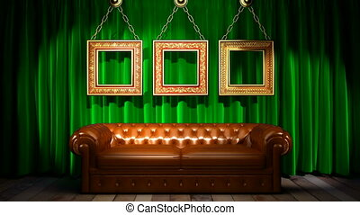Loop light on green fabric curtain