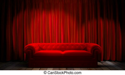 Loop light on red fabric curtain