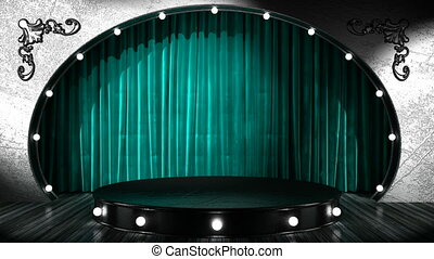 loop lights on silver stage