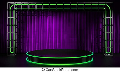 loop lithts on neon stage