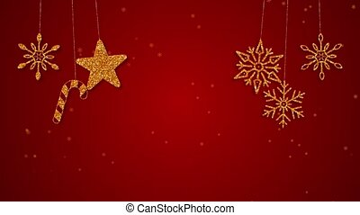 Loop Merry Christmas golden decoration on Red background
