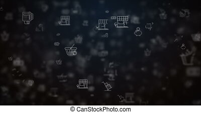 Loop moved shopping icons background