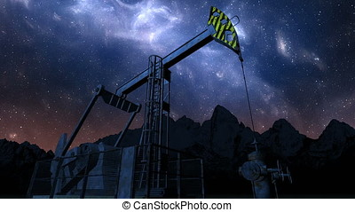 Loop oil pump jack under night sky - Oil pump jack under...