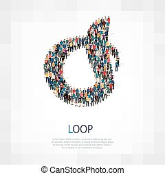 loop people sign 3d - Large group of people in the shape of...