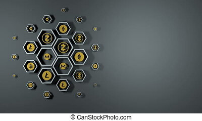 Loop ready background from cryptocurrency icons. -...