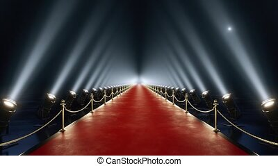 Loop red carpet animation of camera flashes 4k