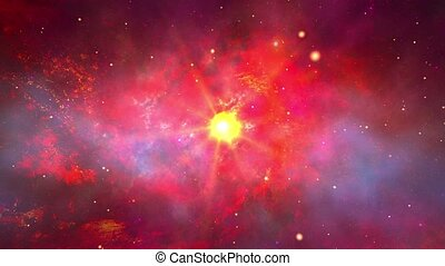 Loop Red galaxy in space studded with stars shining Animation.
