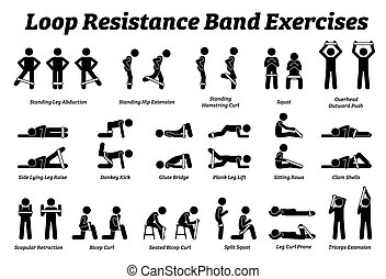 Loop resistance mini band exercises and stretch workout techniques in step by step.