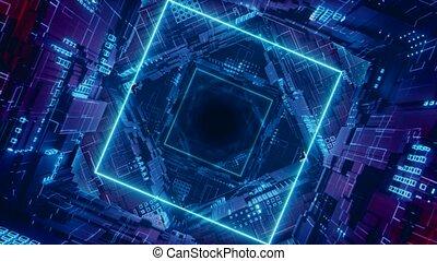 Loop Rhombus Futuristic Neon Tunnel in 4k