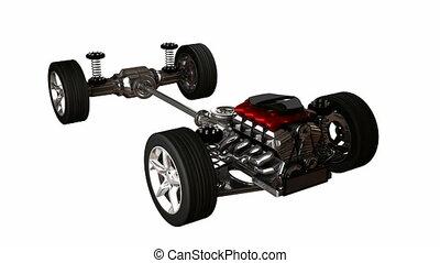 loop rotate car engine. alpha matte