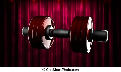 loop rotate dumbbell at curtain stage