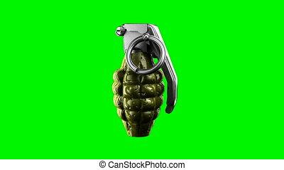 Loop rotate grenade at green chromakey