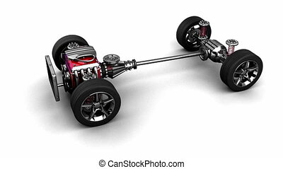 loop rotate isolated car chassis with engine