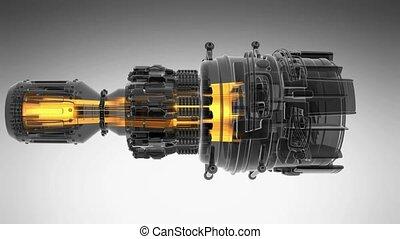 loop rotate jet engine turbine of plane, aircraft concept,...