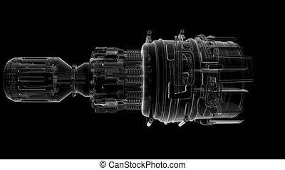 loop rotate jet engine turbine