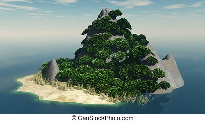 loop rotating rocky island
