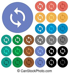 Loop round flat multi colored icons