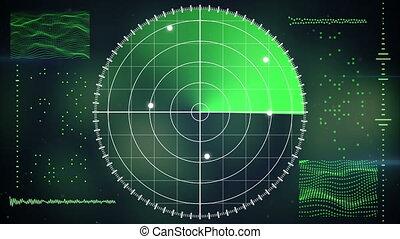 loopable, écran, radar, fond