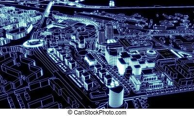loopable, 공중 전망, 의, 도시, 의, lig