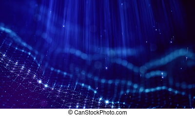 loopable abstract particle background with depth of field, glow sparkles of lights and digital elements. Wave blue particles form lines and lines form curve surface like in the microcosm . V3