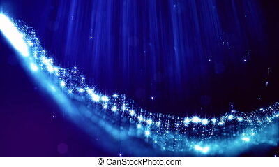 loopable abstract particle background with depth of field, glow sparkles of lights and digital elements. Wave blue particles form lines and lines form curve surface like in outer space. V 2