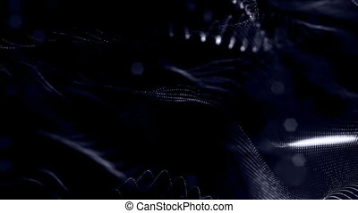 loopable abstract particle background with depth of field, glow sparkles of lights and digital elements. Wave black particles form lines and lines form curve surface like net. V2