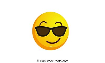 Loopable animation of a grinning yellow emoji isolated on...