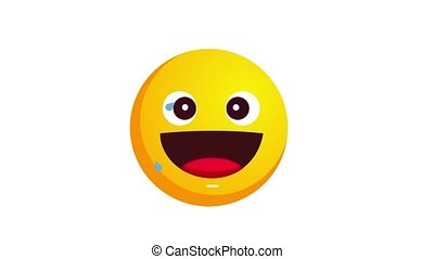 Loopable animation of laughing to tears emoji isolated on...