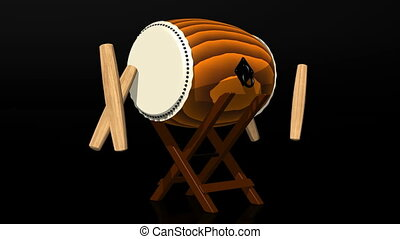 Loopable Asian Drum And Sticks - Loop able 3D toon shading...