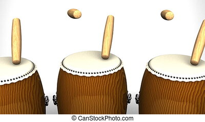 Loopable Asian Drums On White Background.