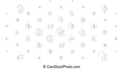 Loopable background from cell with cryptocurrency icons. Can...