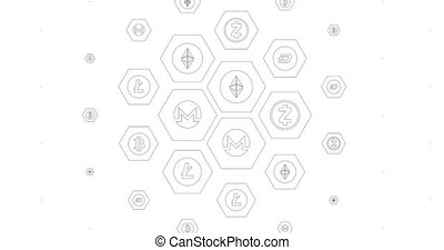 Loopable background from mesh with cryptocurrency icons. Can...