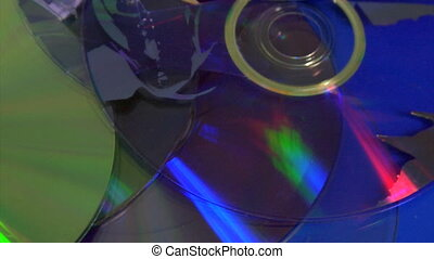 compact discs - loopable background of damaged compact discs