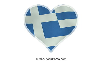 Loopable beating heart symbol with Greek flag - A beating...