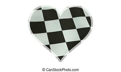 Loopable beating heart symbol with waving checkered flag