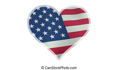 Loopable beating heart symbol with waving American flag