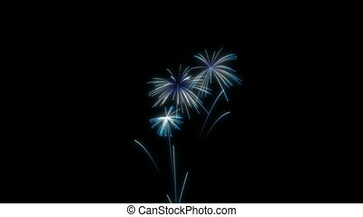 Loopable Blue Fireworks over black