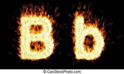 Loopable burning B character, capital and small
