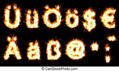 Loopable burning German umlauts, dollar, euro, comma, quote, dot, hyphen