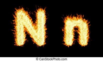 Loopable burning N character, capital and small