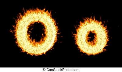 Loopable burning O character, capital and small