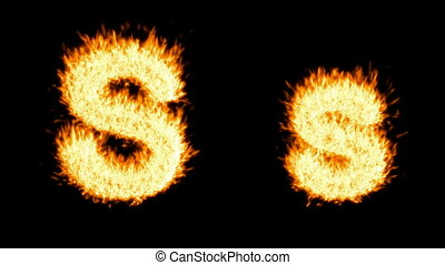 Loopable burning S character, capital and small