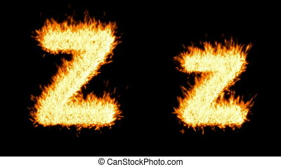 Loopable burning Z character, capital and small