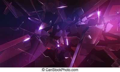 Loopable crystal glass. Abstract background.