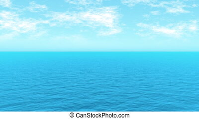 Minimalistic waves and cloud movement. Very calm waves. Ideal for your backgrounds. Perfectly looping. 3d sea without any sunlight.