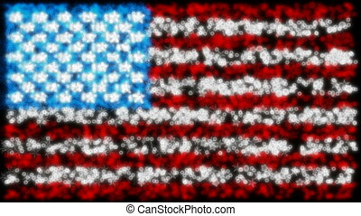 Loopable glittering USA flag