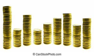 stop motion video, growing and reducing stacks of coins in line isolated on white