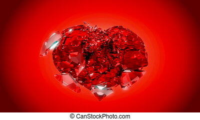 Loopable Heart explosion over red. Slow motion